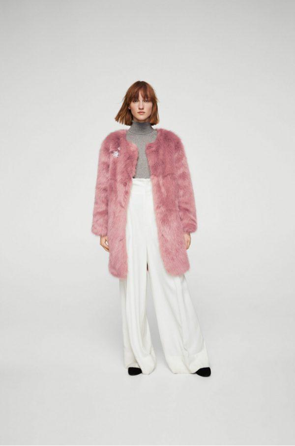 palton din blana ecologica roz