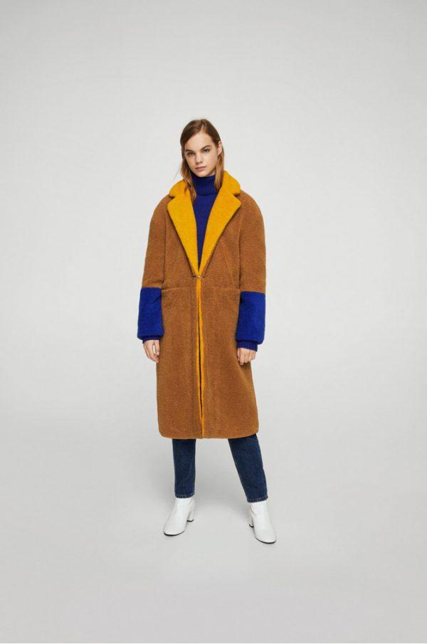 palton bej din blana eco