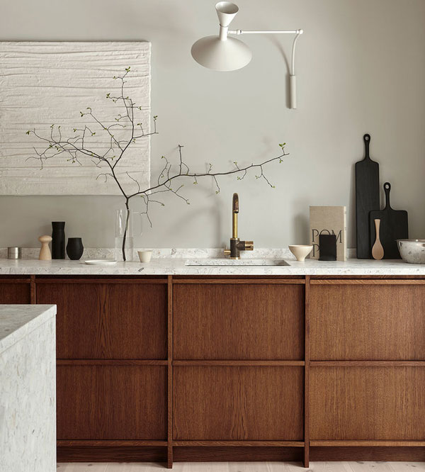 WOODEN MINIMALIST DREAM KITCHEN WITH TERRAZZO COUNTERTOP (Nordiska Kok)